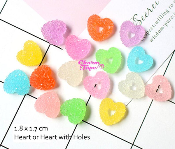 8pcs Miniature Gummy Heart Jelly Hearts Faux Candy Flat back Cabochons M024
