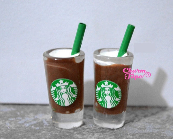 Miniature Starbucks coffee glass drink, set of 2, iced coffee, drinks Cabochons Dollhouse Coffee Cup M026