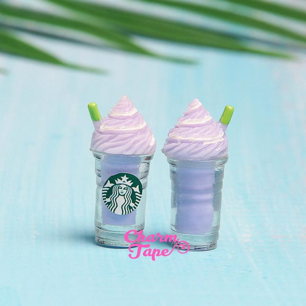 Miniature frappuccino Starbucks cups, set of 2, iced coffee, drinks Cabochons Cabs, Pick Your Amount M028