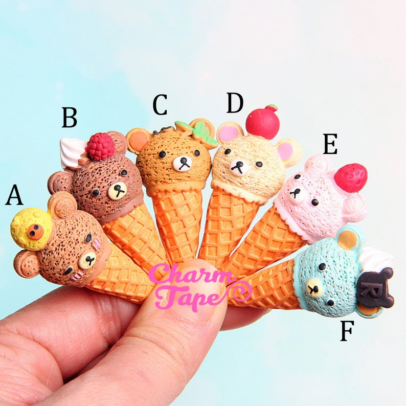 Bear Ice Cream Cabochons Cabs Resin Slime Charms Pick Your Amount M029