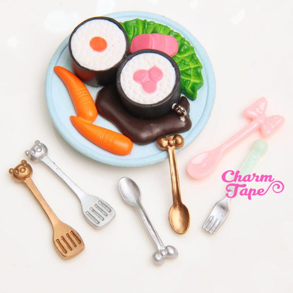 3D Cooking utensils Fork & Spoon cabochon cab cute accessories for iPhone decoden M034