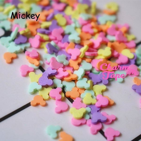Mickey Polymer Clay Confetti Sprinkles Topping Tiny Decoden Faux Miniature Fake Food Funfetti Rainbow Jimmies 5mm 3g/15g/50g sp510