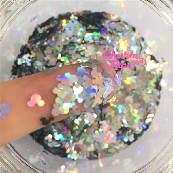 Holographic Mickey Loose glitters, cute glitter 4mm UV resin, nail gel, acrylic nail, nail polish glitter, nail stamping