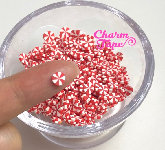 3g/15g/50g Peppermint candy sprinkle Confetti polymer clay Holiday Topping Tiny Decoden Faux Miniature Fake Food 4mm