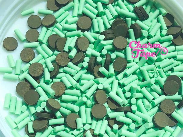 3g/15g/50g Mint Choc Chip Mix sprinkle Confetti polymer clay Holiday Topping Tiny Decoden Faux Miniature Fake Food 5mm SP511