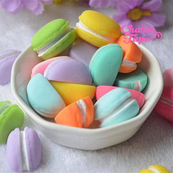 Pastel Half Macaron Pop Out cabochon cab 8pcs cute accessories for iPhone decoden Flat Back QG0238