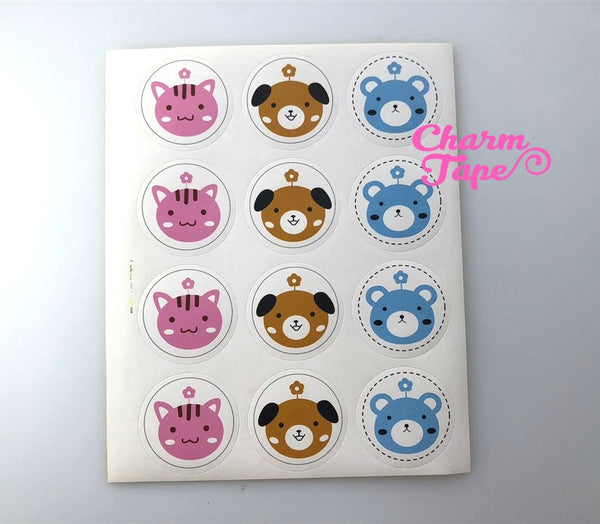 60/120ct 3.5cm Cute Round Paper Stickers For Gift Packing Packaging 5/10 sheets GS041
