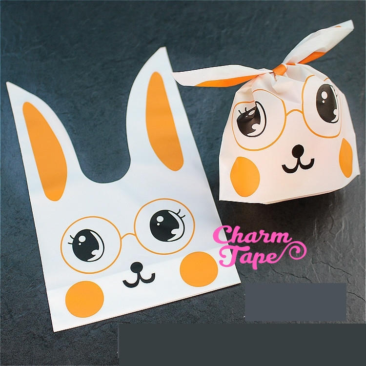 Nerdy Rabbit Bunny Bags // Cello Bags // Party Bags // Self Sealing bags 25 bags CB23 Smaller version