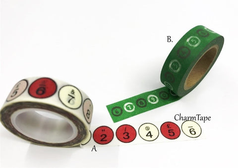 Number Washi Tape - Typewriter Keys 15mm x 10m WT193 WT257