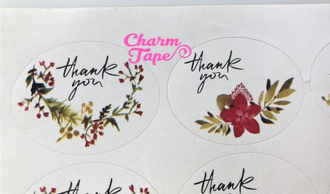 "60/120ct ""Thank you"" Oval Floral Paper Stickers For Gift Packing Packaging 5/10 sheets GS019"
