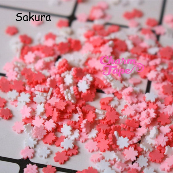 Sakura Cherry Blossoms Polymer Clay Confetti Sprinkles Topping Tiny Decoden Faux Miniature Fake Food Funfetti Rainbow Jimmies 5mm 3g/15g/50g sp507