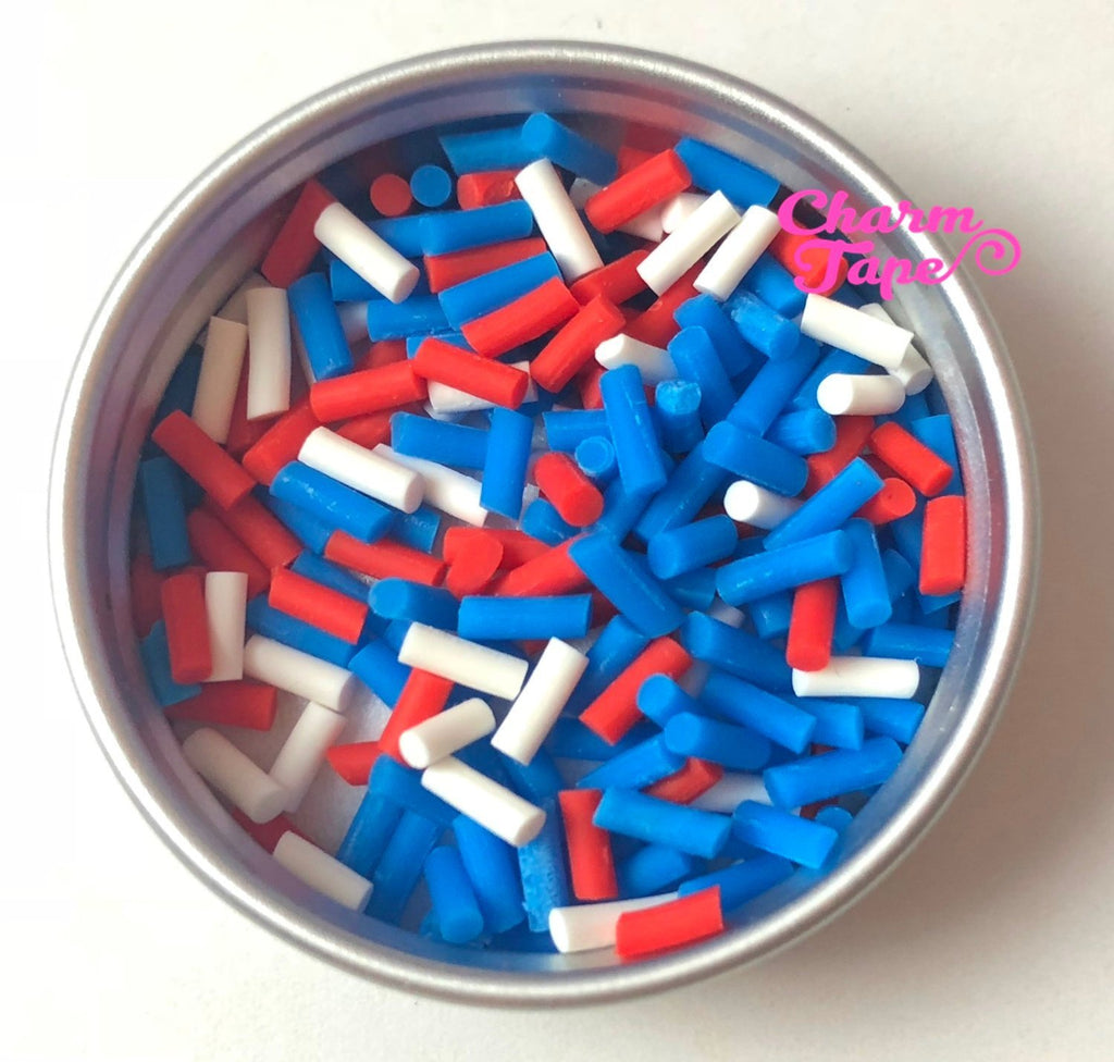 3g/15g/50g Patriot Mix sprinkle Confetti polymer clay Holiday Topping Tiny Decoden Faux Miniature Fake Food 5mm