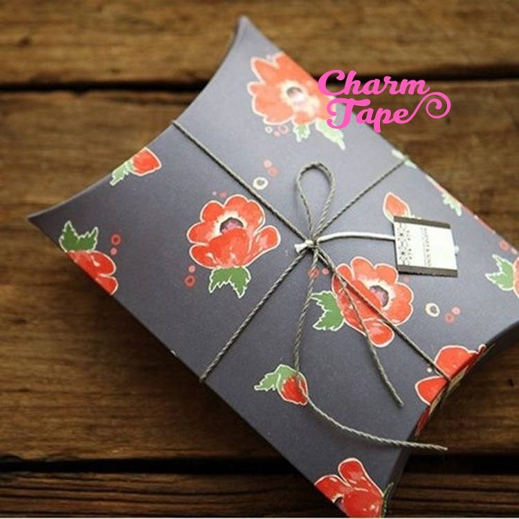 "5pcs Red Peony Flower Gift Box, Pillow Boxes For Candy, Treat - Party Favors Bags PB006 18.5×14.3 cm 7""x5"""