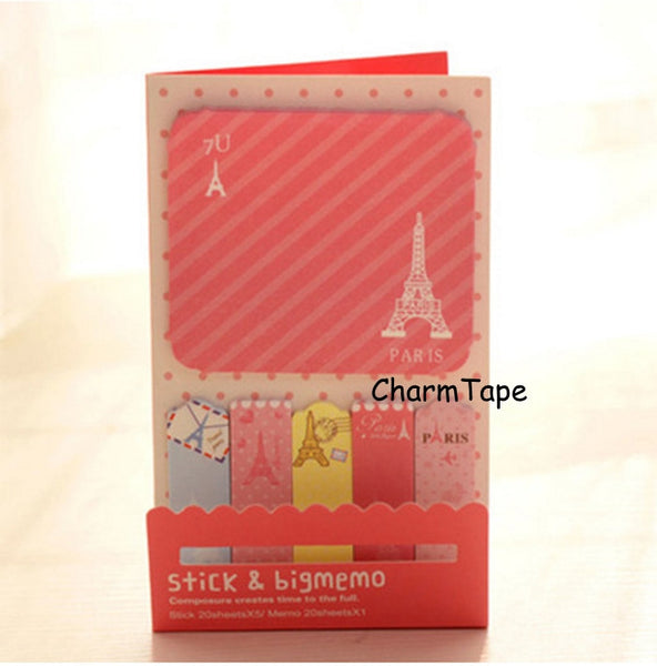 Pink Paris Eiffel Tower Sticky Post It Memo Note Pad 120 sheets SS741 - CharmTape - 1