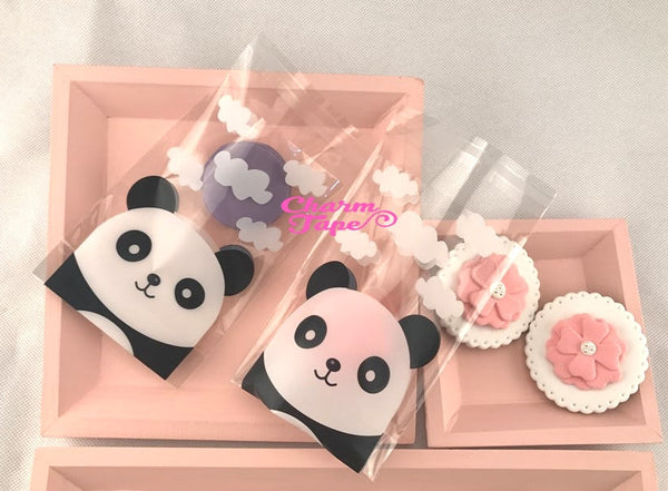 50 bags Panda Bear Bags // Cello Bags // Poly Bags // Self Sealing bags // Party Thank You Bags Set CB26