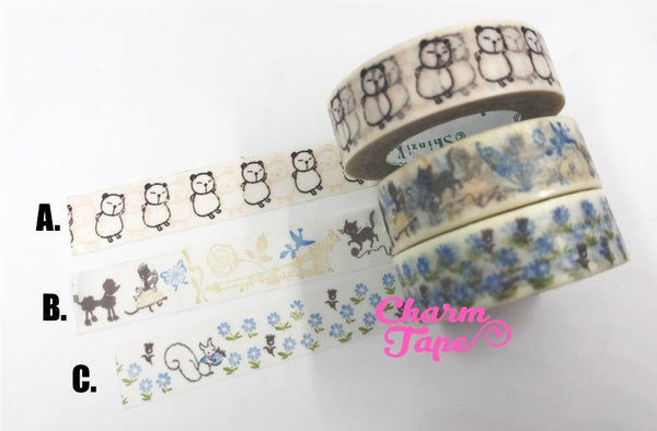 Poodle or Squirrel Washi Tape 15mm x 10m by Shinzi Katoh Wt298 WT341 WT746