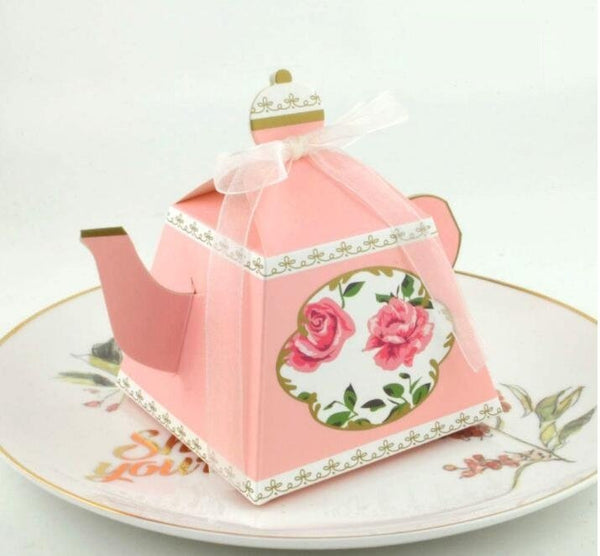 Set of 25 Tea pot favor box, Tiffany's theme, pink, floral, gold, spring, tea party, gift box, Bridal shower PB052