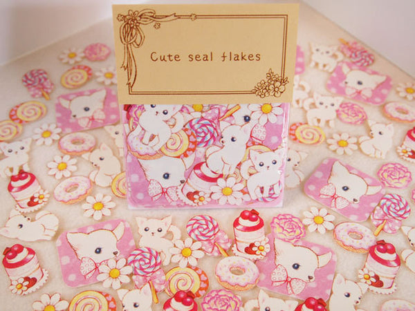 White Puppy Dog Sticker Flake Seals Set 70 pieces SS925 - CharmTape - 1