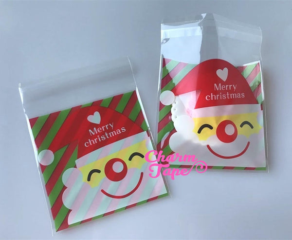 Festive Santa or Reindeer Gift Bags Cello Bags Self-adhesive Cookie bags - Favors Bags - Party bags 20/50/100 bags CB56 CB57