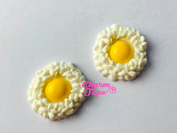 Raw Egg on Rice Cabochons, Tamago Kake Gohan, Food Cabochons, Rice Cabochons 25x7mm M048