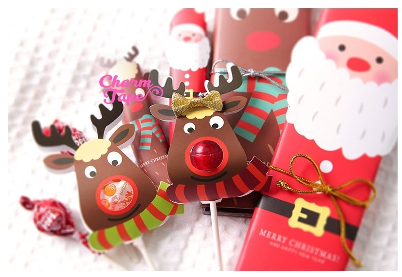 Reindeer Christmas Lollipop Holder - Small Gift - Class Gift - Party Favor - Festive Gift 25 Lollipop Covers