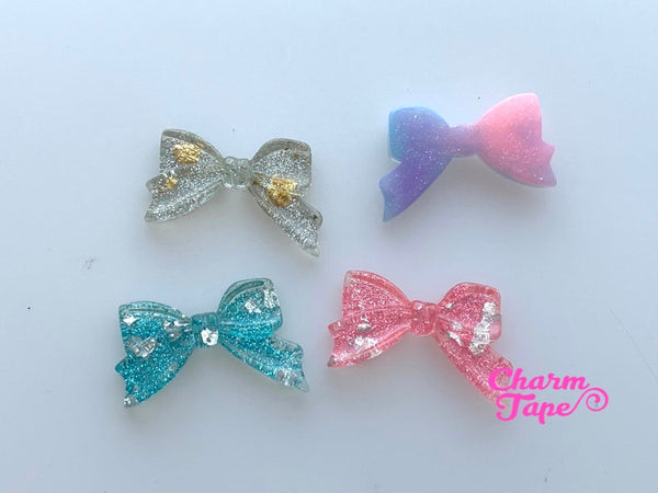 32mm Gradient Glitter Ribbon Bow Gold / Silver foil Resin Cabochon Cab Flat Back M055