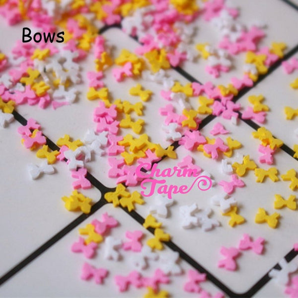 Ribbon Bows Polymer Clay Confetti Sprinkles Topping Tiny Decoden Faux Miniature Fake Food Funfetti Rainbow Jimmies 5mm 3g/15g/50g sp535