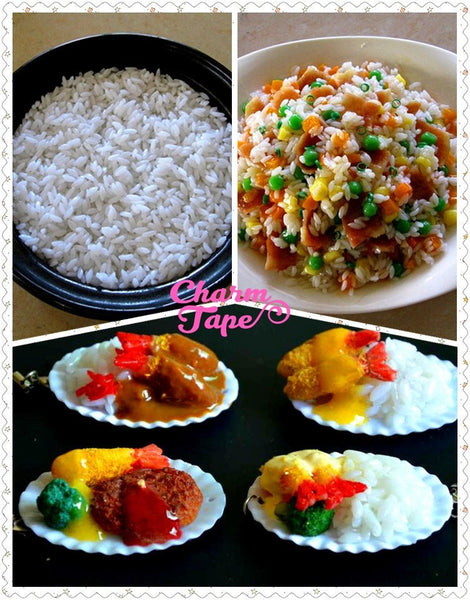 Fake Rice / White Rice / Fake Food - 20 grams Tiny Decoden Faux Miniature Fake Food