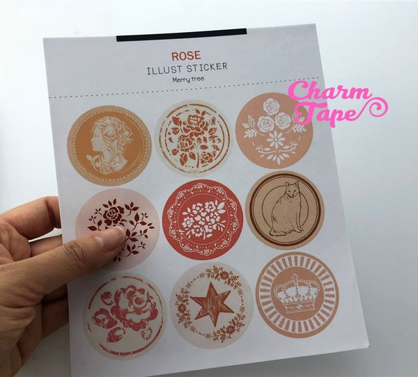 36/72ct Pretty Round Paper Stickers For Gift Packing Packaging 4/8 sheets GS020