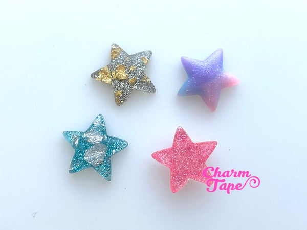 26mm Gradient Glitter Stars Gold / Silver foil Resin Cabochon Cab Flat Back M056
