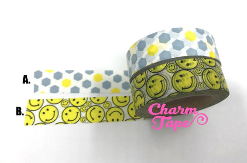 Smiley Face or honeycomb hexagon Washi tape 15mm x 10 meters WT1080 WT510