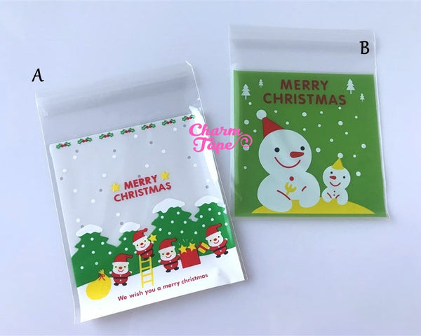 Festive Elves or Snowman Gift Bags Cello Bags Self-adhesive Cookie bags - Favors Bags - Party bags 20/50/100 bags CB54 CB55