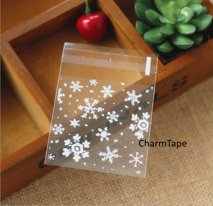 Festive Snowflake Gift Bags Cello Bags Self-adhesive Cookie bags - Favors Bags - Party bags CB7