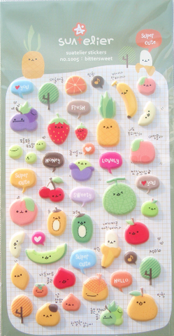Fruit Puffy Deco stickers art sticker - Bittersweet by Suatelier 1 Sheets SS1005 - CharmTape