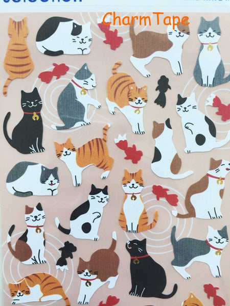 Kitten Cat & Goldfish paper stickers - 1 Sheets SS419