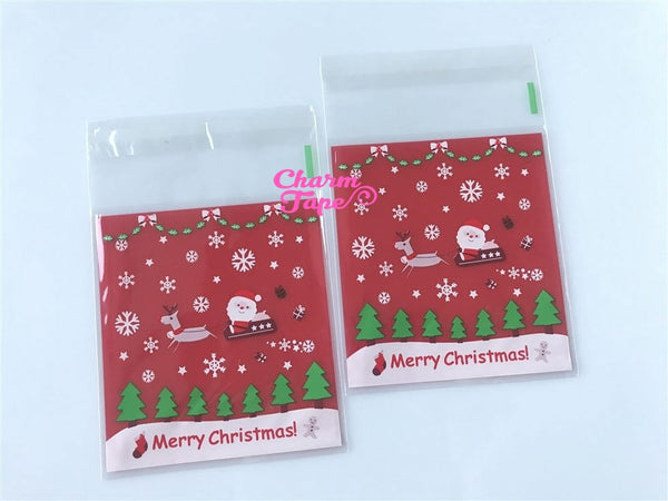 Festive Santa or Santa sleigh Gift Bags Cello Bags Self-adhesive Cookie bags - Favors Bags - Party bags 20/50/100 bags CB60 CB61
