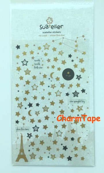 Stars Deco sticker - Shine Like Star 1 Sheets by Suatelier SS437