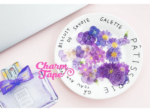 Mille Fleurs Flowers Plastic Sticker Flakes Set 40 Sheets UV resin Craft - 9 styles to choose