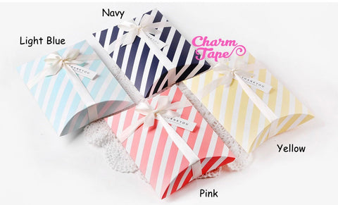 10pcs Stripes Gift Box, Pillow Boxes For Candy, Treat - Party Favors Bags PB028