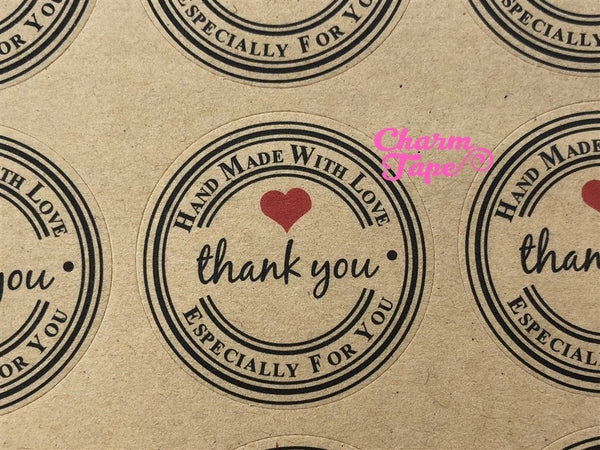 "60/120ct ""Thank you"" 3.3cm Round Kraft Paper Stickers For Gift Packing Packaging 5/10 sheets GS034"