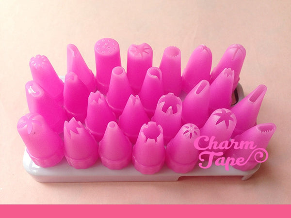 Plastic Piping Tips (Bigger Size) - For Deco Cream 24 pieces - CharmTape - 1