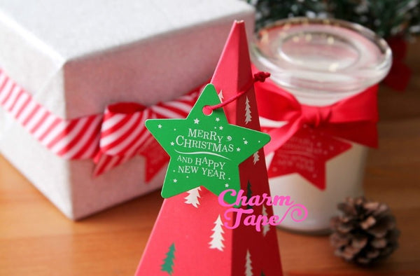 50ct Merry Christmas & Happy New Year Paper Tags Packaging / Simple Gift tags / Hang Tags / Party Favors TT02