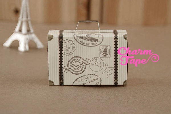 20x Destination Wedding Favor Boxes Traveling Going away party Travel Suitcase Boxes PB051