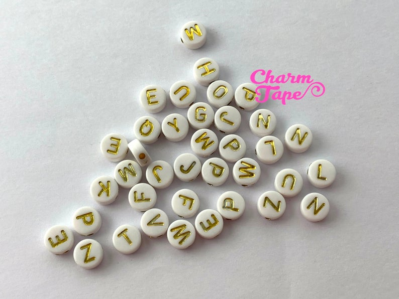 100 White and Gold 7mm Alphabet Beads, Acrylic Letter Beads AB19