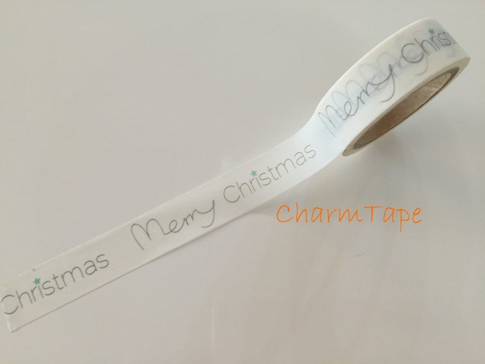 White Washi tape - Merry Christmas - 15mm Wide - 10meters WT705