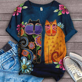 Cat Cartoon Design Art T-Shirt 4