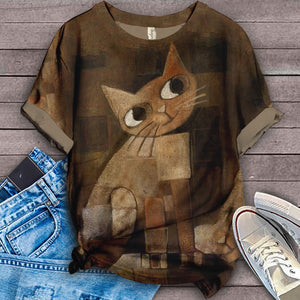 Cat Cartoon Design Art T-Shirt 7