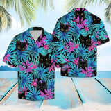 Black cat tropical leaves hawaii shirt