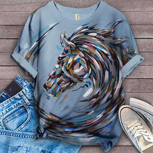 Horse Lovers Floral Art T-Shirt 1