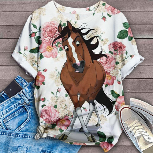 Horse Retro Floral Art T-Shirt